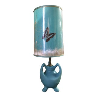 Van Briggle Lamp With Original Butterfly Shade For Sale