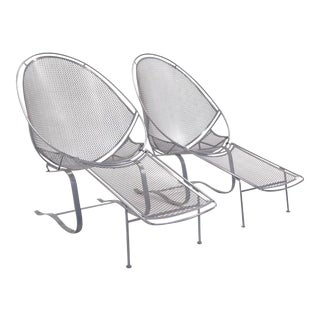 Pair of High Back for John Salterini Patio Chaise Lounges For Sale