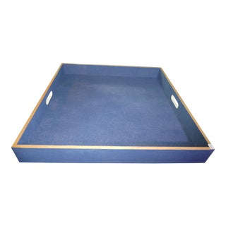 Vintage Blue Stingray Shagreen Tray With Handles For Sale