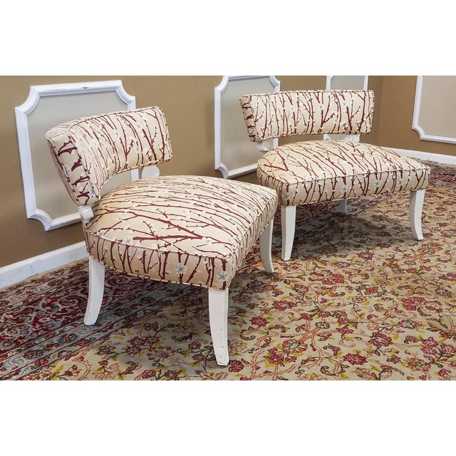 1950s Vintage Mid-Century Modern James Mont Upholstered Slipper Chairs - a Pair - Image 7 of 10