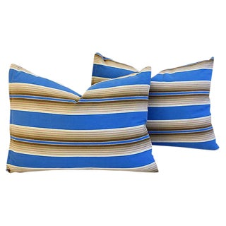 Custom Tailored Blue & Tan French Ticking Feather/Down Pillows - A Pair For Sale