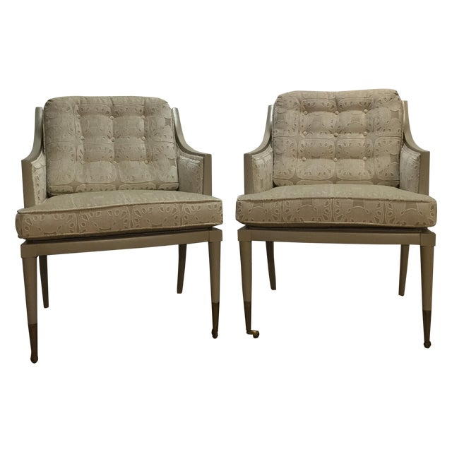 Vintage Mid-Century Taupe Armchairs - A Pair - Image 1 of 7