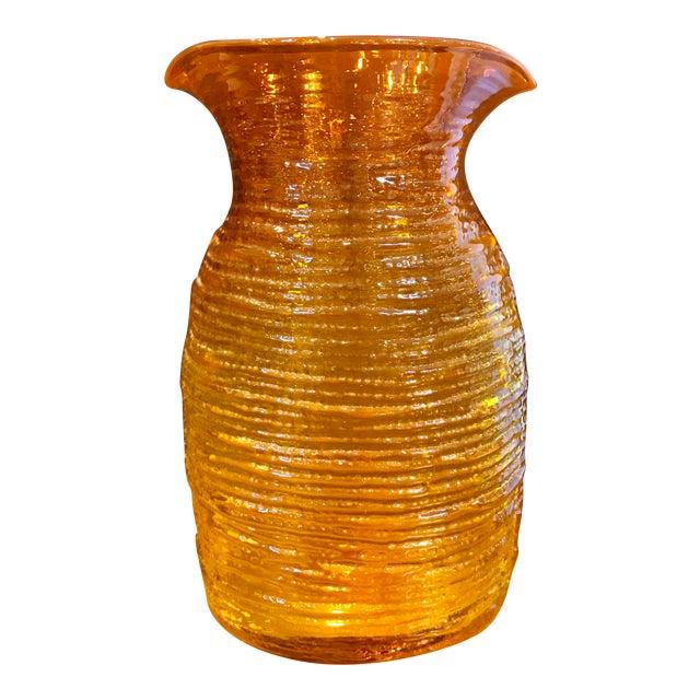 Blenko Mid-Century Modern Orange Glass Pitcher - Image 1 of 8