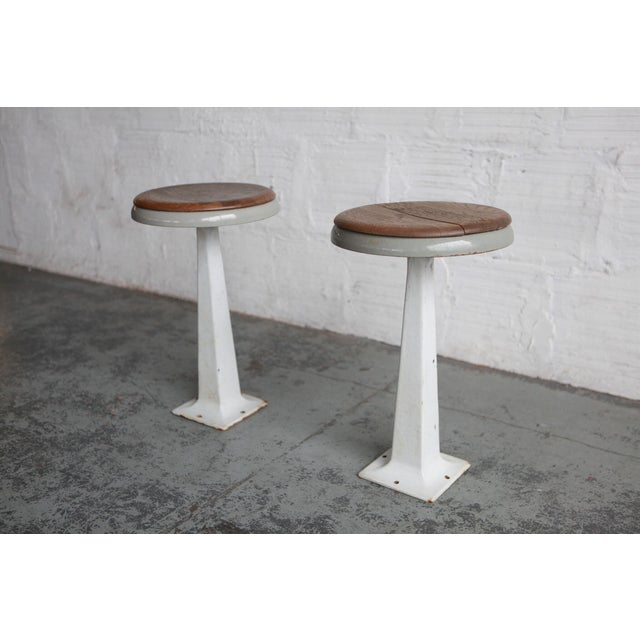 1950s White Industrial Stools - a Pair For Sale - Image 5 of 5