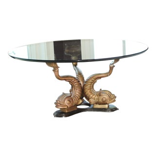 Hollywood Regency Brass Koi Coffee Table For Sale