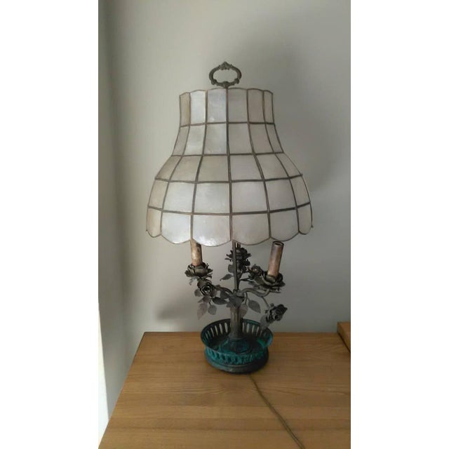 Antique Steel & Brass Roses Lamp - Image 2 of 9