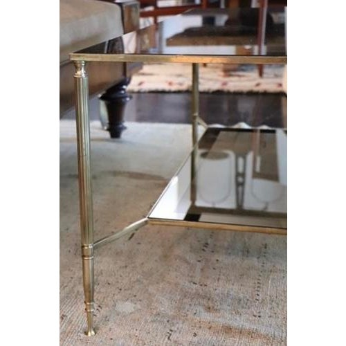 Mid 20th Century Two Tiered Brass and Mirrored Coffee Table For Sale - Image 5 of 7