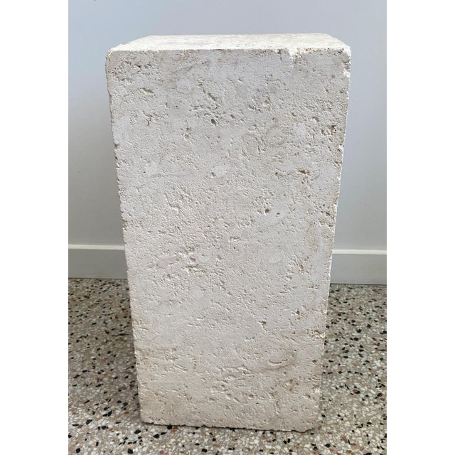 Vintage Low Pedestal in Cream Color Natural Travertine Stone For Sale - Image 9 of 9