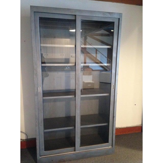 Vintage Industrial Metal Display Cabinet For Sale - Image 12 of 12