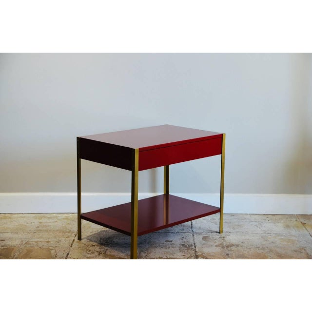 Pair of 'Laque' Oxblood Lacquer and Brass Nightstands by Design Frères For Sale In Los Angeles - Image 6 of 6