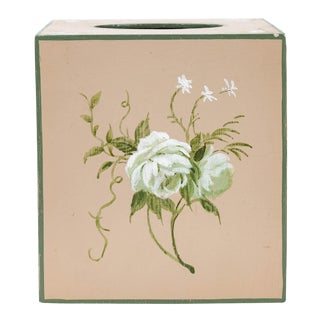 Tissue Box Cover With Handpainted White Flower on a Beige Background For Sale
