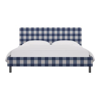 California King Tailored Platform Bed in French Blue Check For Sale
