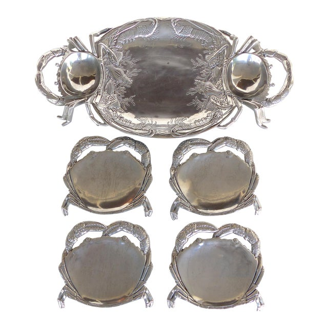 Arthur Court Crab & Lobster Serving Tray W/ Crab Plates - Set of 5 For Sale