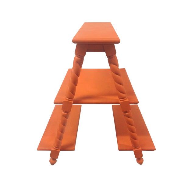 Orange Painted Three Tiered Stand - Image 4 of 5