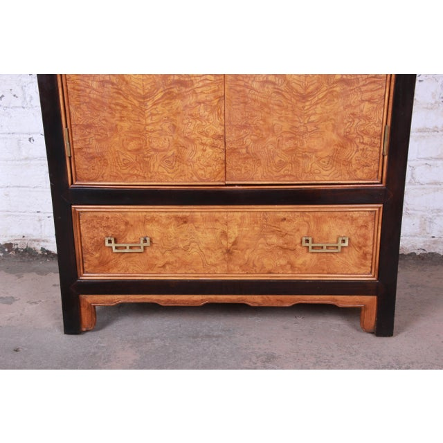 1970s Century Furniture Black Lacquer and Burl Wood Chinoiserie Armoire Dresser For Sale - Image 5 of 13