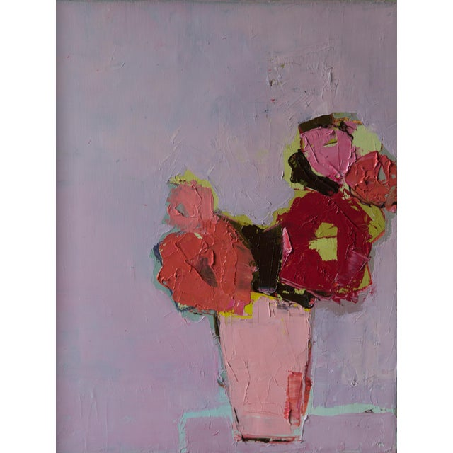"""Bill Tansey """"Five Flowers"""" Abstract Floral Painting Oil on Canvas For Sale"""