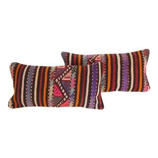 Striped Turkish Kilim Pillows - A Pair For Sale
