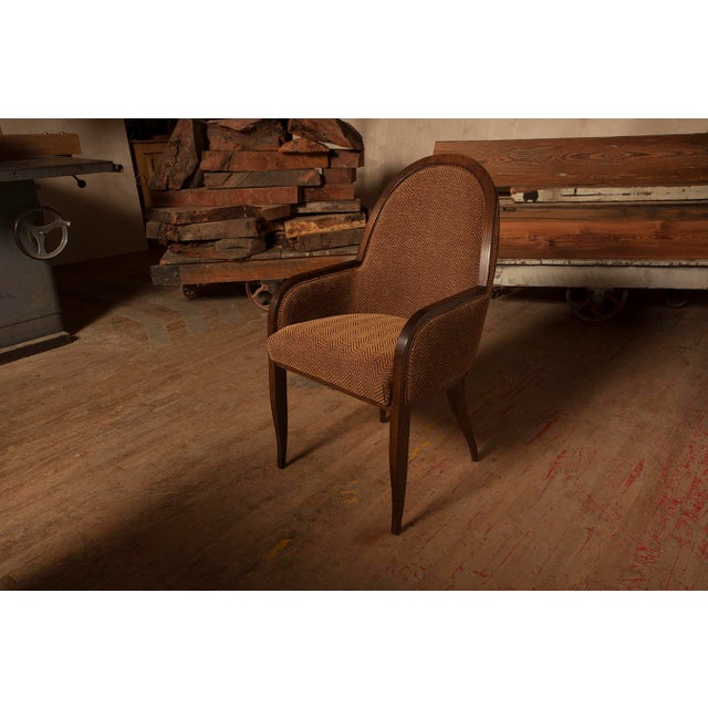 Brown Oak Arm Chair For Sale - Image 8 of 8