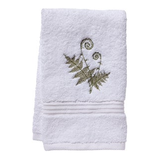 Olive Fiddlewood Fern Guest Towel White Terry, Embroidered For Sale