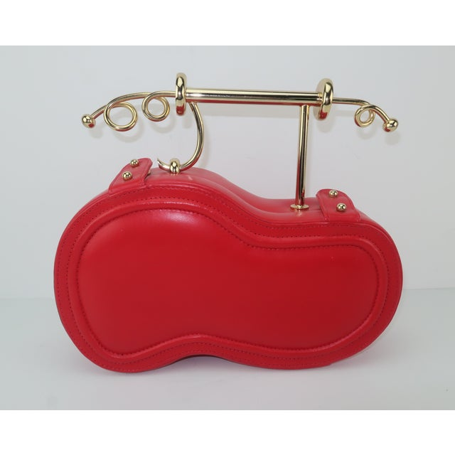 Late 20th Century Freon Firenze Italian Red Leather Handbag With Unique Handle For Sale - Image 5 of 12