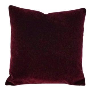 "Highland Court Angora Bourdeaux Mohair Velvet Pillow Cover - 20"" X 20"" Dark Burgundy Mohair Accent Cushion Cover For Sale"