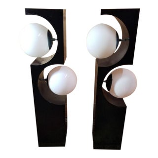 Mid Century Modern 2 Globe Geometric Table Lamps by Modeline - Pair For Sale