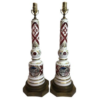 Vintage White Cut to Ruby Bohemian Glass Lamps - a Pair For Sale