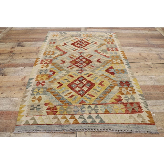 20th Century Boho Chic Afghani Shirvan Kilim Rug With Tribal Style For Sale In Dallas - Image 6 of 11