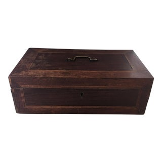 Antique English Inlaid Wood Box For Sale