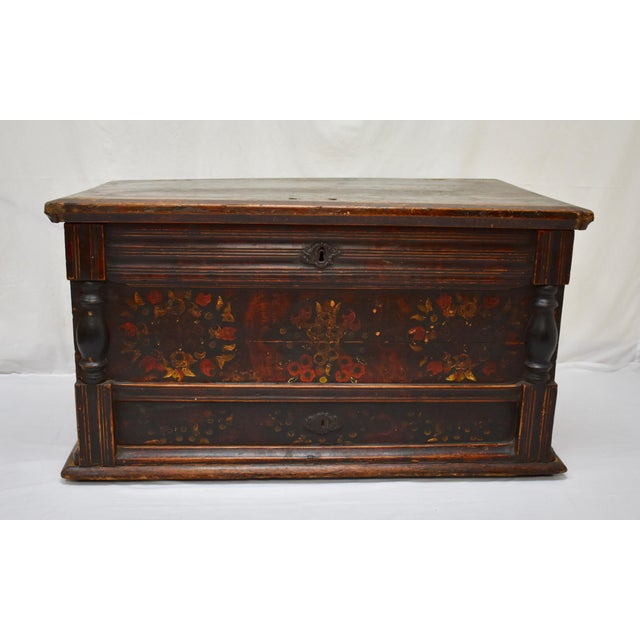 Painted Pine and Oak Trunk or Blanket Chest in Original Paint For Sale - Image 13 of 13