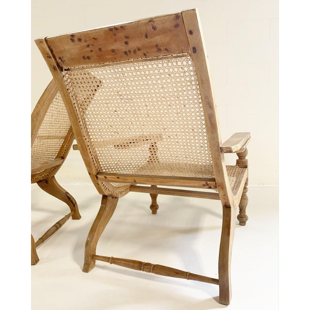 Tan British Colonial Plantation Chairs With Sheepskins, Pair For Sale - Image 8 of 10