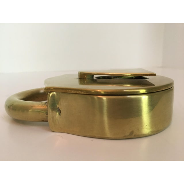 1970s Rare - Mid-Century Virginia Metalcrafters Solid Brass Padlock Box For Sale - Image 5 of 13