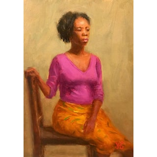 Oil Alla Prima Painting of African-American Woman For Sale