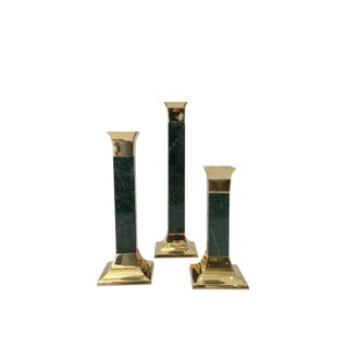 1960s Hollywood Regency Green Marble Candle Holders - Set of 3