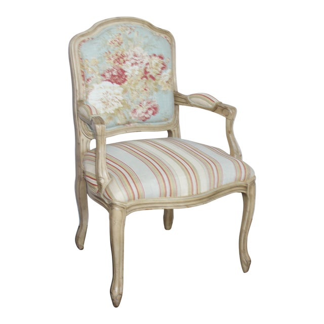 Vintage French Louis XV Floral Bergere Armchair For Sale
