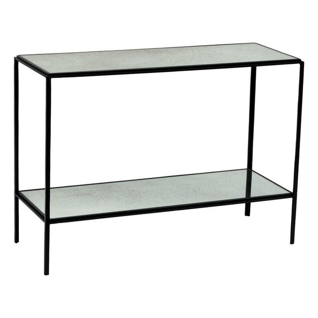 Black The 'Rectiligne' Narrow Mirrored End Table For Sale - Image 8 of 8