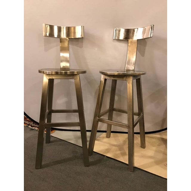 Metal A Pair of Deco Style Steel Bar Stool For Sale - Image 7 of 12
