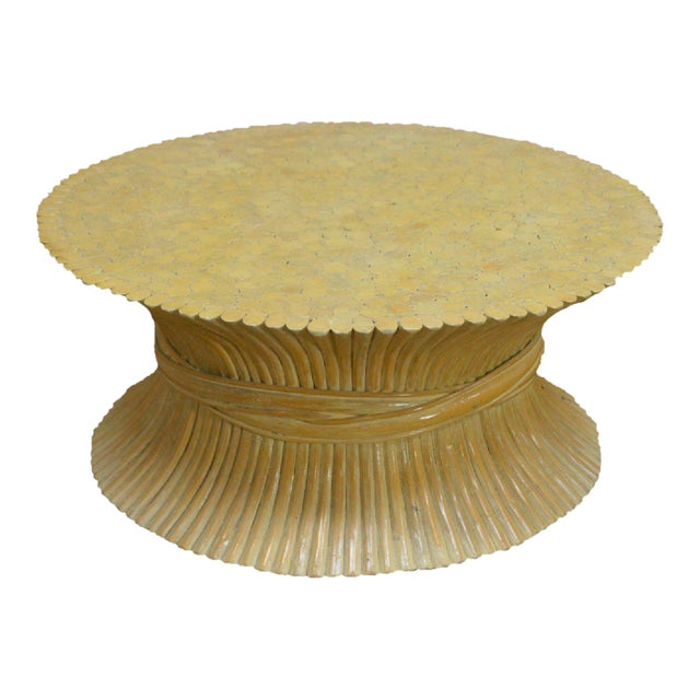 McGuire Style Mid Century Modern Round Wheat Sheaf Rattan Coffee Table For Sale