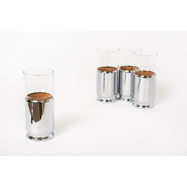 Silver Mid Century Highball Cocktail Glasses With Silver Cork Liners For Sale - Image 8 of 11
