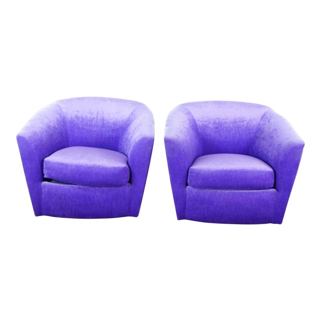 Purple Upholstered Chairs- A Pair For Sale