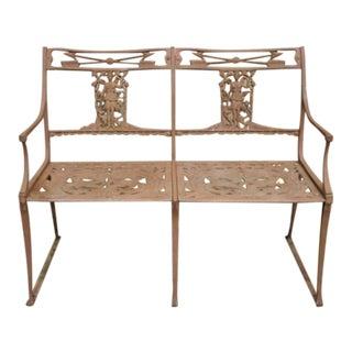 Molla Style Italian Neoclassical Cast Aluminum Figural Garden Bench Settee For Sale