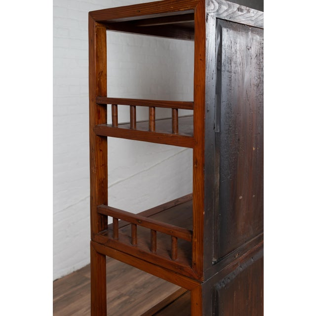 Vintage Chinese Two-Part Elmwood Bookcase With Pillar-Shaped Strut Motifs For Sale In New York - Image 6 of 13