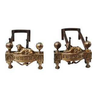 Pair of 19th Century Louis XVI Style Bronze Chenets With Lions For Sale