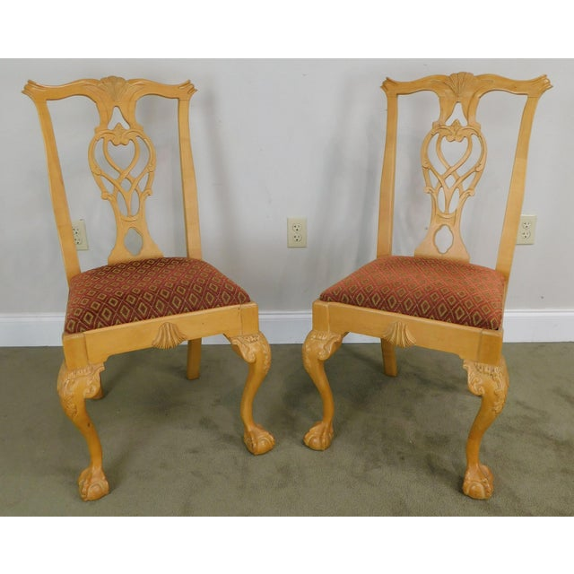 Chippendale Lexington Solid Pine Chippendale Style Ball & Claw Carved Pair Side Chairs For Sale - Image 3 of 13