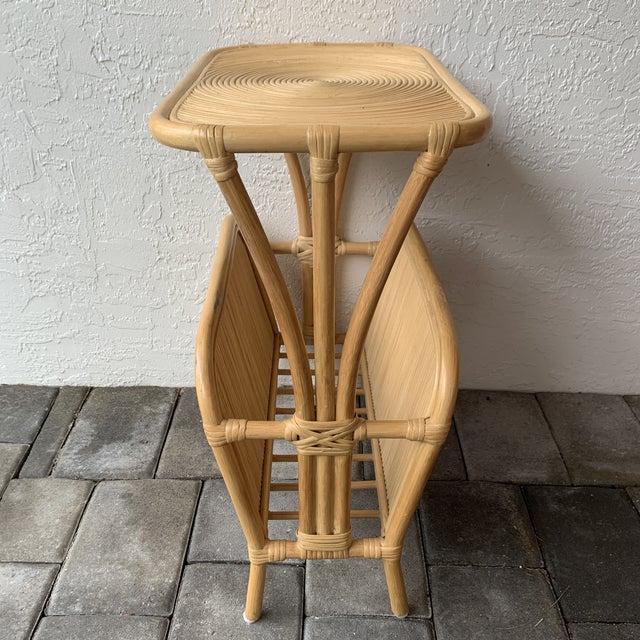Boho Chic 1970s Rattan Split Reed Magazine Rack Side Table For Sale - Image 3 of 12