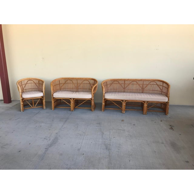 Mid Century Italian Rattan and Bamboo Chairs and Settee- 6 Pieces For Sale - Image 9 of 11