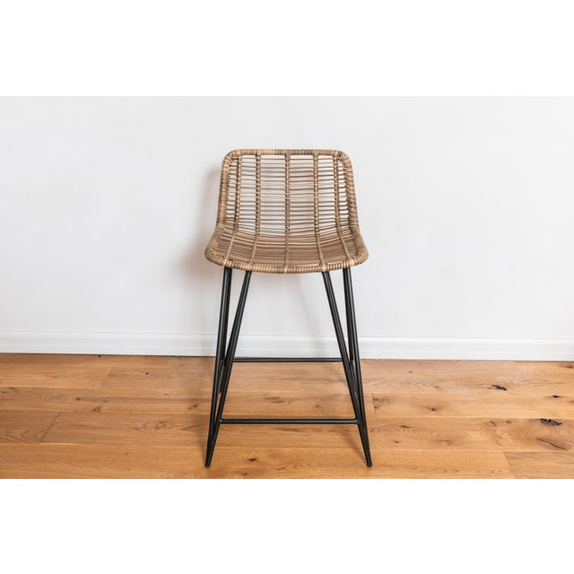 We showcased these great bar stools on our patio overlooking DTLA. The woven caning on black metal bases just has a great...