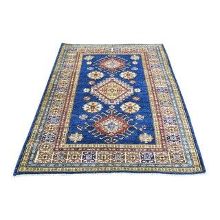 Hand-Knotted Denim Blue Kazak Tribal Design Rug- 3′3″ × 4′10″ For Sale