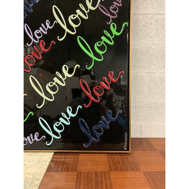 Monumental Art Framed Oil Painting With Resin on Canvas With Love Words by Franchy For Sale - Image 12 of 13