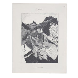 1899 Original Cocorico Illustration, a Woman and Her Donkey (Wely), Belle Epoque Vintage Ephemera For Sale